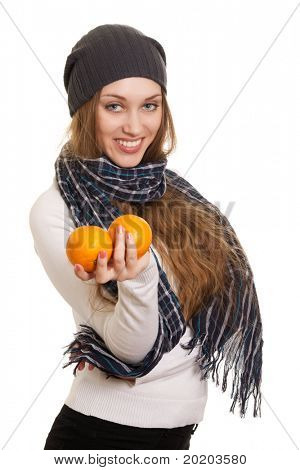 Happy woman with orange on white background