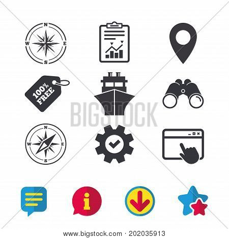 Windrose navigation compass icons. Shipping delivery sign. Location map pointer symbol. Browser window, Report and Service signs. Binoculars, Information and Download icons. Stars and Chat. Vector