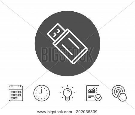 USB flash drive line icon. Memory stick sign. Portable data storage symbol. Report, Clock and Calendar line signs. Light bulb and Click icons. Editable stroke. Vector