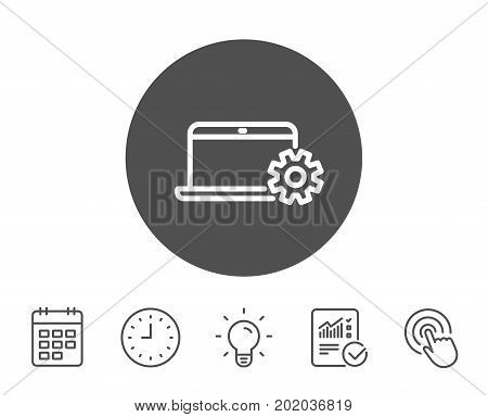 Laptop computer icon. Notebook Service sign. Portable personal computer symbol. Report, Clock and Calendar line signs. Light bulb and Click icons. Editable stroke. Vector