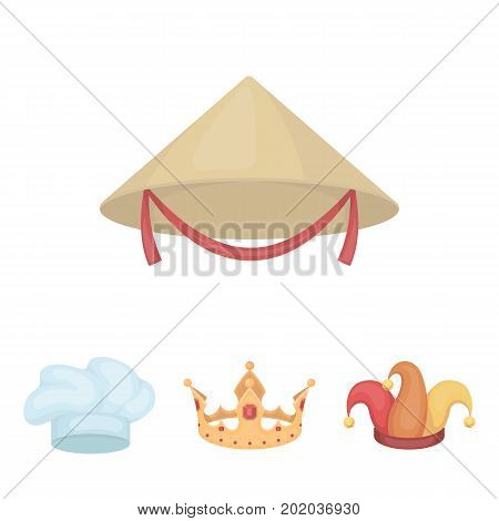 Crown, jester's cap, cook, cone. Hats set collection icons in cartoon style vector symbol stock illustration .