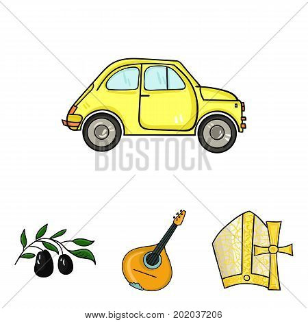 Mandolin, papa, olive, retro auto.Italy country set collection icons in cartoon style vector symbol stock illustration .