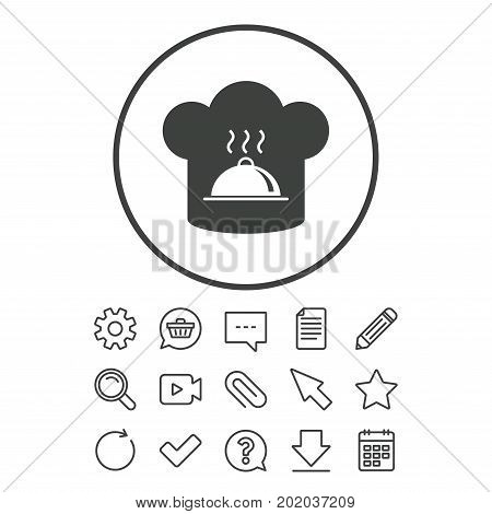 Chef hat sign icon. Cooking symbol. Cooks hat with hot dish. Document, Chat and Paper clip line signs. Question, Pencil and Calendar line icons. Star, Download and Shopping cart. Vector