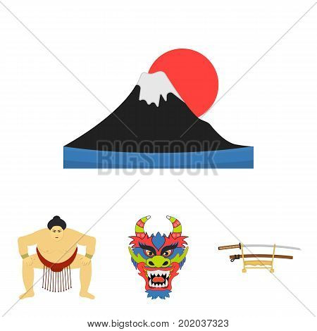 Dragon mask, katano, a man is a sumo player, a fujiama mountain.Japan set collection icons in cartoon style vector symbol stock illustration .