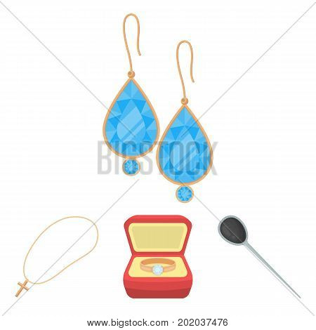Ring in a case, hair clip, earrings with stones, a cross on a chain. Jewelery and accessories set collection icons in cartoon style vector symbol stock illustration web.