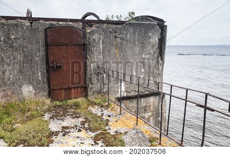 Rusted Steel Door, Entrance To Abandoned Bunker