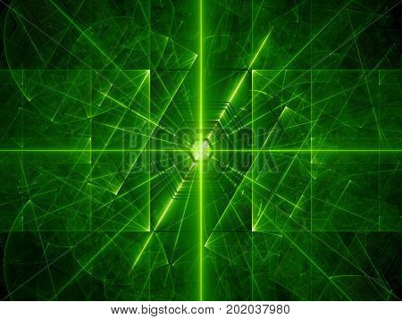 Green glowing laser beams computer generated abstract background 3D rendering