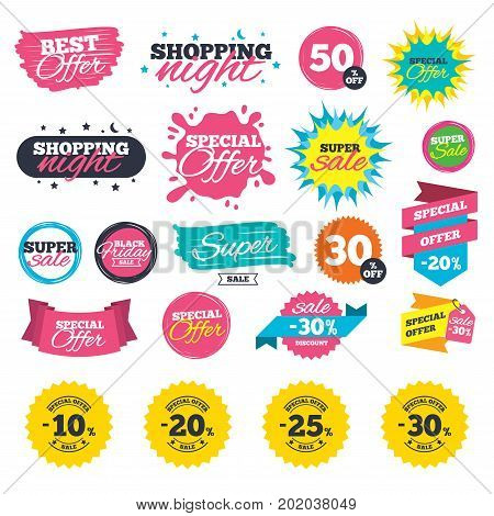 Sale shopping banners. Sale discount icons. Special offer stamp price signs. 10, 20, 25 and 30 percent off reduction symbols. Web badges, splash and stickers. Best offer. Vector