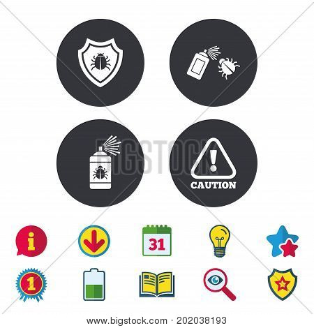 Bug disinfection icons. Caution attention and shield symbols. Insect fumigation spray sign. Calendar, Information and Download signs. Stars, Award and Book icons. Light bulb, Shield and Search. Vector