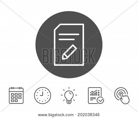 Edit Document line icon. Information File sign. Paper page with pencil concept symbol. Report, Clock and Calendar line signs. Light bulb and Click icons. Editable stroke. Vector