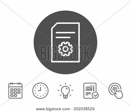 Document Management line icon. Information File with Cogwheel sign. Paper page concept symbol. Report, Clock and Calendar line signs. Light bulb and Click icons. Editable stroke. Vector