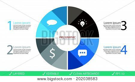 Vector circle arrows infographics set. Template for diagram graph presentation and chart. Business concept with 4 options parts steps or processes. Abstract background.