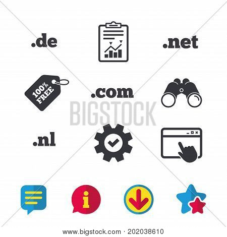 Top-level internet domain icons. De, Com, Net and Nl symbols. Unique national DNS names. Browser window, Report and Service signs. Binoculars, Information and Download icons. Stars and Chat. Vector