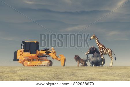 A yellow bulldozer face to face with wild animals (an elephant a lion a rhinoceros and a giraffe). Conceptual image. This is a 3d render illustration.