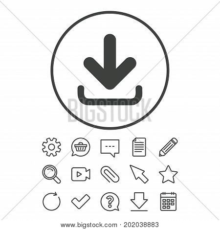 Download icon. Upload button. Load symbol. Document, Chat and Paper clip line signs. Question, Pencil and Calendar line icons. Star, Download and Shopping cart. Vector