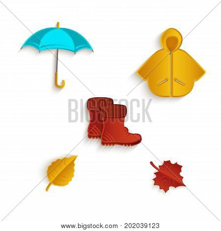 vector cartoon autumn symbol objects set. Isolated illustration on a white background. Oak and maple leaves, rubber boots raincoat and umbrella. Autumn object concept