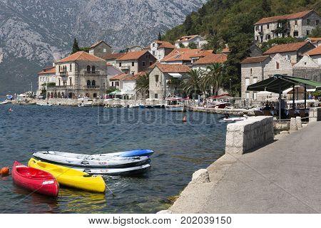 PERAST, MONTENEGRO - AUGUST 04, 2017:Embankment of the city of Perast Montenegro.