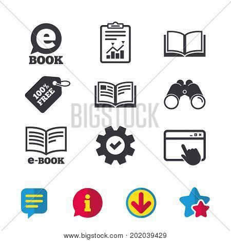 Electronic book icons. E-Book symbols. Speech bubble sign. Browser window, Report and Service signs. Binoculars, Information and Download icons. Stars and Chat. Vector