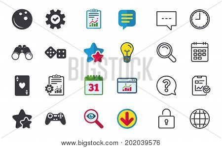 Bowling and Casino icons. Video game joystick and playing card with dice symbols. Entertainment signs. Chat, Report and Calendar signs. Stars, Statistics and Download icons. Question, Clock and Globe