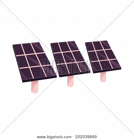 vector flat cartoon solar panels battery, sun power cells plant, eco environmental friendly energy source station. Isolated illustration on a white background. Alternative eletricity source concept