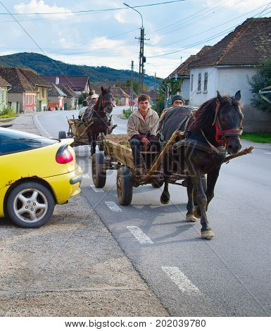 Romanians Driving Horse Cart. Romania