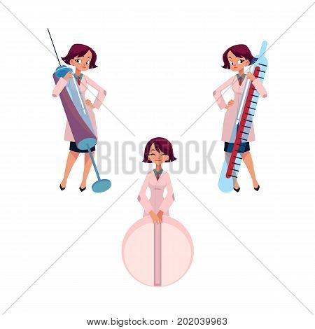 Young woman doctor with huge thermometer, syringe and pill, cartoon vector illustration isolated on white background. Cartoon woman doctor with huge medical objects - thermometer, syringe and pill