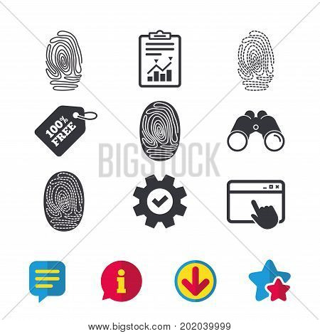 Fingerprint icons. Identification or authentication symbols. Biometric human dabs signs. Browser window, Report and Service signs. Binoculars, Information and Download icons. Stars and Chat. Vector