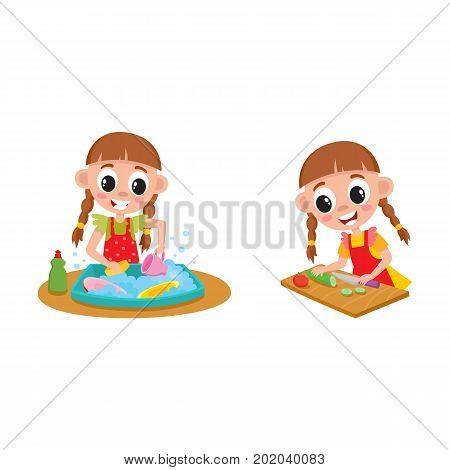 Little girl doing housework, chore - washing dishes and cooking, cartoon vector illustration isolated on white background. Cartoon little girl washing dishes and cooking, doing housework