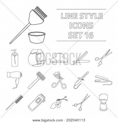 Hairdresser set icons in outline style. Big collection of hairdresser vector symbol.