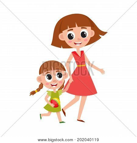 Mother and daughter, little girl walking with her mom, holding hands and talking, cartoon vector illustration isolated on white background. Cartoon girl walking with her mom, mother and daughter