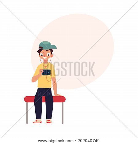 Boy, schoolboy, teenager travelling by subway, sitting, using phone, cartoon vector illustration with space for text. Full length portrait of teenage boy sitting in subway, using smartphone