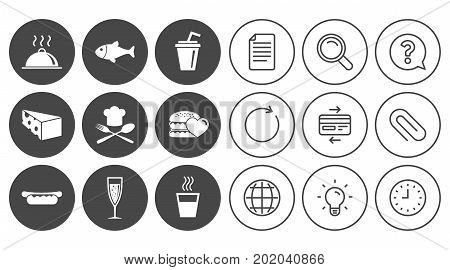 Food, drink icons. Alcohol, fish and burger signs. Hot dog, cheese and restaurant symbols. Document, Globe and Clock line signs. Lamp, Magnifier and Paper clip icons. Question, Credit card and Refresh