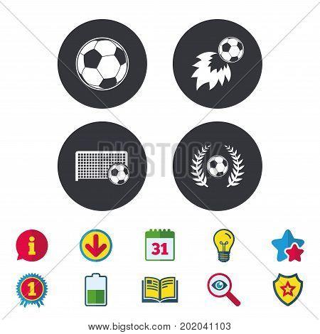 Football icons. Soccer ball sport sign. Goalkeeper gate symbol. Winner award laurel wreath. Goalscorer fireball. Calendar, Information and Download signs. Stars, Award and Book icons. Vector