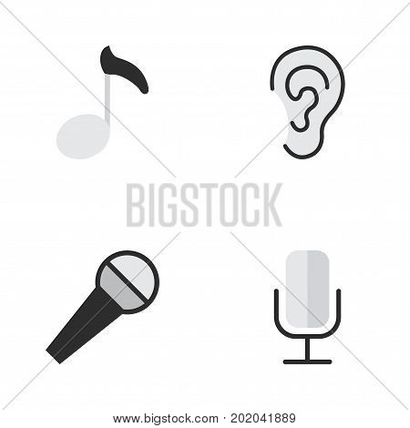 Elements Record, Note, Listen And Other Synonyms Mic, Ear And Microphone.  Vector Illustration Set Of Simple  Icons.