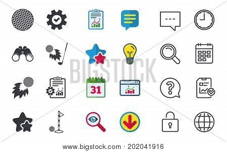 Golf ball icons. Fireball with club sign. Luxury sport symbol. Chat, Report and Calendar signs. Stars, Statistics and Download icons. Question, Clock and Globe. Vector