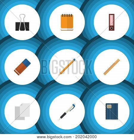 Flat Icon Tool Set Of Notepaper, Drawing Tool, Pencil And Other Vector Objects