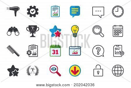 Hairdresser icons. Scissors cut hair symbol. Comb hair with hairdryer symbol. Barbershop laurel wreath winner award. Chat, Report and Calendar signs. Stars, Statistics and Download icons. Vector