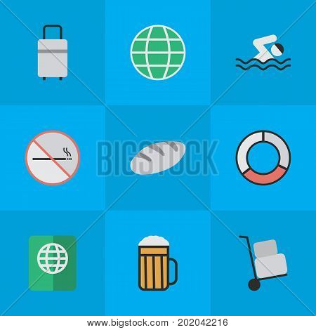 Elements Sea Rescue, World, Bakery And Other Synonyms Pool, Truck And Hand.  Vector Illustration Set Of Simple Vacation Icons.