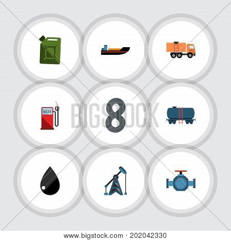 Flat Icon Fuel Set Of Petrol, Flange, Fuel Canister And Other Vector Objects