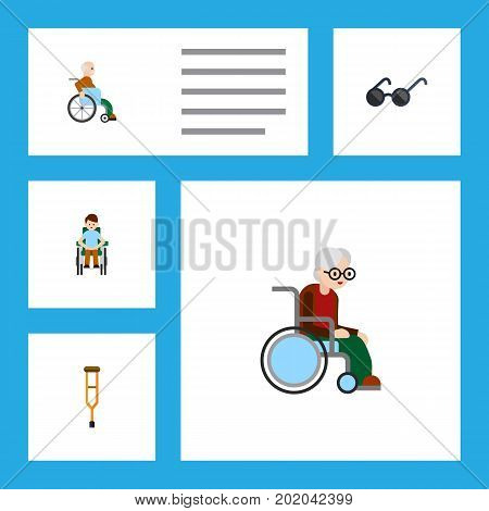 Flat Icon Disabled Set Of Stand, Spectacles, Handicapped Man Vector Objects