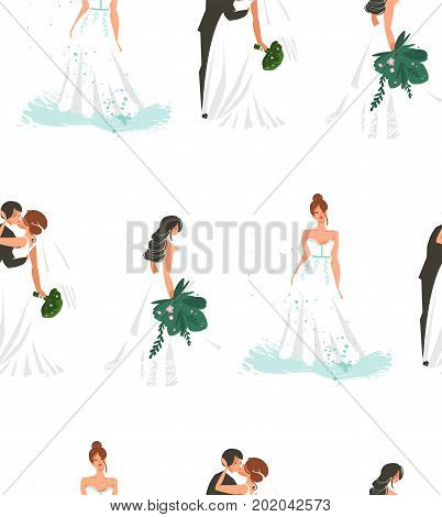 Hand drawn vector abstract cartoon wedding bridals and couple illustration seamless pattern fashion print isolated on white background