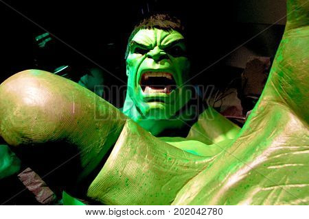 LAS VEGAS, NEVADA US - Oct 29, 2014: Hulk giant model hand, Madame Tussauds museum in Las Vegas.