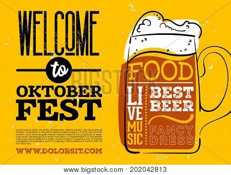 Welcome to Oktoberfest Poster. Vector Hand Drawn Beer Mug with Lettering on Yellow Old Grunge Vintage Texture. Banner for Bavarian Holiday Fest Flyer. Octoberfest Celebration Design.