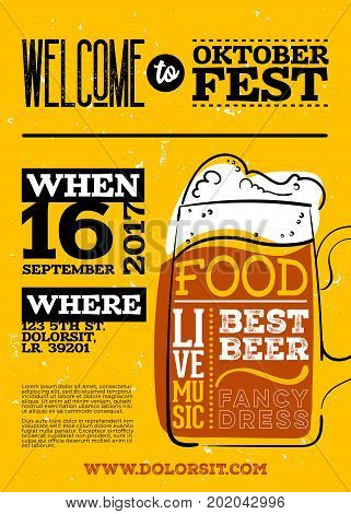 Welcome to Oktoberfest Poster. Vertical or Portrait Orientation. Vector Hand Drawn Beer Mug with Lettering on Yellow Old Grunge Retro Texture. Placard for Bavarian Event Fest Flyer. Octoberfest Design. poster