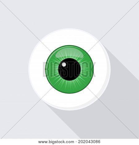 Human eyeball iris pupil. Eye with bright green Vector Illustration