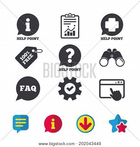 Help point icons. Question and information symbols. FAQ speech bubble signs. Browser window, Report and Service signs. Binoculars, Information and Download icons. Stars and Chat. Vector