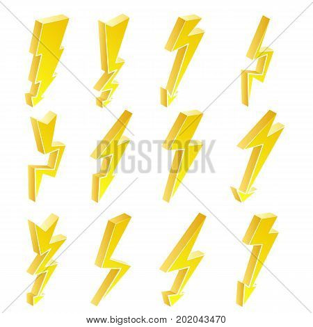 3D Lightning Icons Vector Set. Cartoon Yellow Lightning Isolated Illustration. lightning Symbol. Electrical Sign.