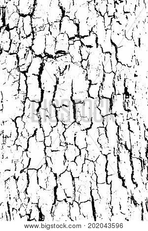 Distressed halftone grunge black and white vector texture -old wood bark texture background with cracks for creation abstract vintage design effect with noise and grain.