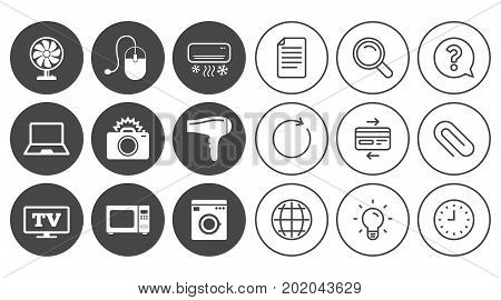 Home appliances, device icons. Electronics signs. Air conditioning, washing machine and ventilator symbols. Document, Globe and Clock line signs. Lamp, Magnifier and Paper clip icons. Vector