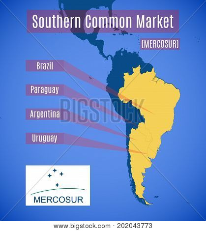 Vector schematic map and emblem of Southern Common Market (MERCOSUR) Without Venezuela!